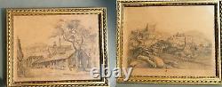 2 Framed Drawing Boards Signed Leoret A Cremieu Isère 1886