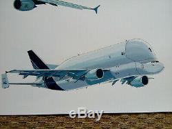 Airbus A380 And Beluga Grande Original Board Gouache And Watercolor