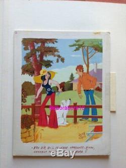 André Vigno Pin Up Painting Board Original (art Drawing Days Of France Kiraz)