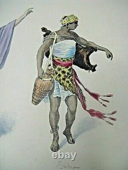 Beautiful Costumes Board Watercolors Original Style Job 1890theatre Opera Antique