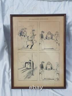 Beautiful Drawing Original Board Comic Scene Albert Guillaume 1873 1942