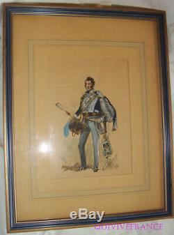 Board Watercolor 18th Officer Light Dragoons 1814-1821 By Louis De Beaufort