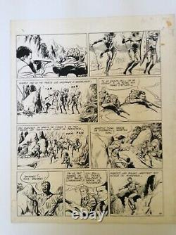 Bob Morane-gerald Forton-original Drawing-the Ivory Track-1962