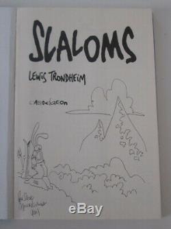 Dedication Lewis Trondheim (rabbit) Slaloms Eo 1993 + Ex-libris N ° / S 100 Ex