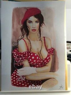 Design Original Dedicace Planche Bd Tribute Woman A La Robe Rouge Art Pin Up