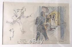 Drawing Original Color Juillard Blake And Mortimer Size 17 25 CM Framed