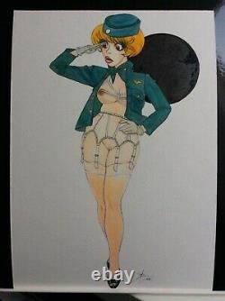 Drawing Original Dedicace Planche Bd Tribute Natacha Hotesse De L Air Art Pin Up