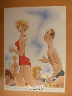Drawing Original Gouache Cover Le Rire Humor Swimsuit Bath