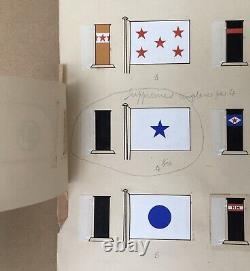 Drawing Original Gouache Floor Flags 28 Pavilions Maritime Companies