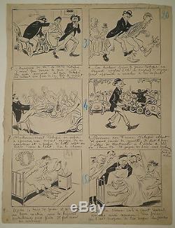 Drawing Original Plate Ink Maurice Radiguet Le Bon Vivant No. 100 1901 Drawing