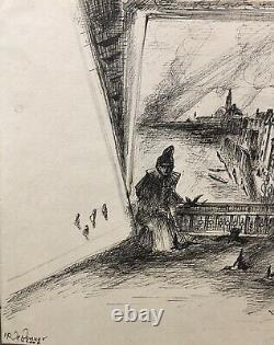 Drawings 20thm Xxèm Signed Ink Realism Illustration Travel 2 Original Plates