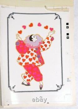 Esz7050. Vintage Arlene Noel Pierrot Wishes Card Drawing Original Plank 1970s