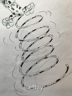 Exceptional Original Illustration Ink Of China Marsupilami 30x40 (batem)