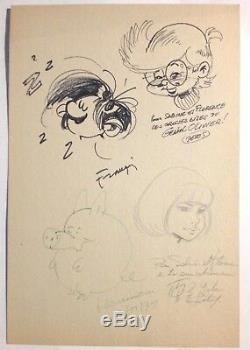 Franquin / Leloup / Devos / Hausman Signed Autograph Dedications / Dupuis