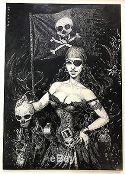 Fred Beltran Superb Original Drawing B & W Women Pirate 20 29 CM
