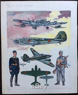 Funcken Original Watercolor China Board Signed 40x32cm Very Good Condition