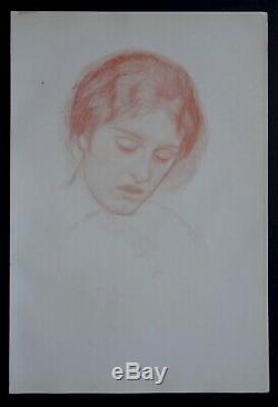 Harold Speed 1898 Portrait Drawing Board Study Original Old Art Nouveau