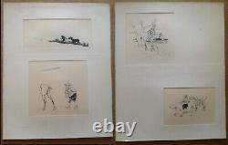 Henry Morin Cervantes Don Quixote 4 Ink Pencil Drawing Board 1905 Original