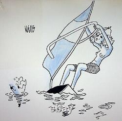 Humour Presse Guy Valls Original Drawing Sailing Board Signed