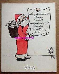 Jean Effel Illustration Drawing Original Santa Plate Original Color 1959