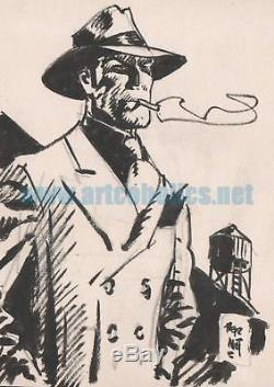 Jordi Bernet Original Illustration Of Torpedo 1936. Ink On Cardboard