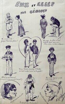 L'affichiste E. Genault // Dessin Original Planche De Caricatures 1900 (50)