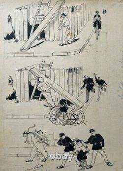 L'affichiste E. Genault // Dessin Original Planche De Caricatures 1900 (58)