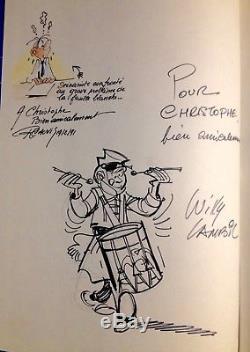 Lambil Signed Autograph Signed / Blue Tunics / Beautiful Drawing