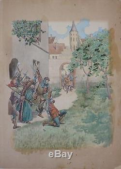 Large Original Watercolor Drawing By Job (1858-1931) Illustration Belgium