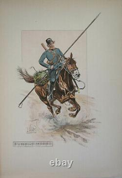 Le Chic A Cheval L Vallet 1891 Cossack Of The Guard Board 33 X 25