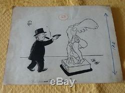 Lot Of 5 Original Drawings Drawings / Caricatures Jean Effel