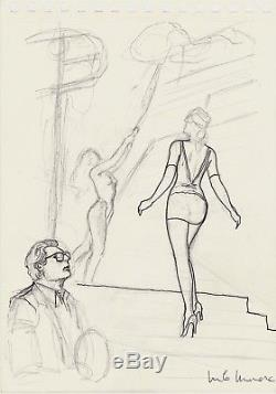 Manara Magnificent Study For The Cover Of Fellini Original Drawing