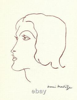 Matisse Authentic Monochrome Plank Signed Dlp Bouffant Vergé Portrait Drawing