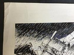 Mike Peyton. Original Ink Board. Cartoon. Humor. We Have Night Like
