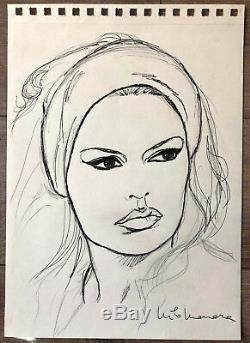 Milo Manara Drawing Original Brigitte Bardot The Mepris Signed 2030 CM Superb
