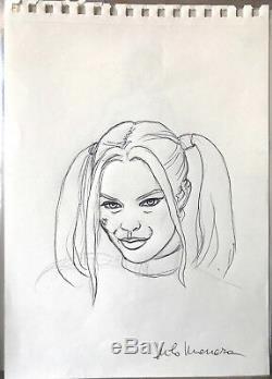 Milo Manara Drawing Original Harley Quinn Suicide Squads Signed DIM 2030 CM