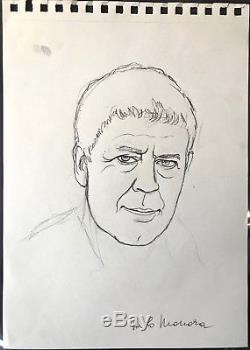 Milo Manara Drawing Original Pencil Hugo Pratt Signed DIM 2030 CM