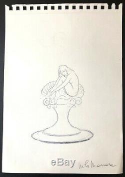 Milo Manara Drawing Original Pencil Preparatory Bardot Signed DIM 2030 CM