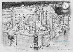 Nicolas De Crécy Rare, Original Drawing Barcelona Market Signed