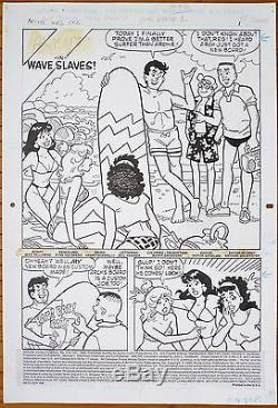 Original Artwork Of Archie By Stan Goldberg Surf Bikini Original Art Paddle