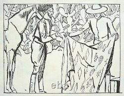 Original Board Around 1910 By Valverane (1870-1943) Africa Horse Drawing