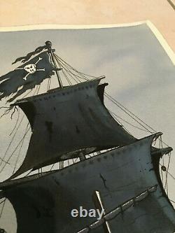 Original Board Drawing Artist Pirate Boat Watercolor Ink China