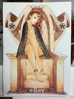 Original Drawing Board Bd Dedication Tribute Succubus Demon Woman Pin Up Art Akt