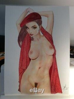 Original Drawing Board Bd Dedication Tribute Woman In Red Pin Up Art Akt Nudo