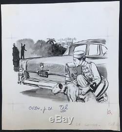 Original Drawing Board Christian Gaty Groom Illustration Luxury Car B2.40