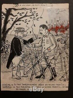 Original Drawing Board Forecastle Illustrator 1939-1945 Staline Churchill
