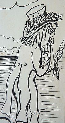 Original Drawing By Caran D'ache (1858-1909) Hispanic American War 1898