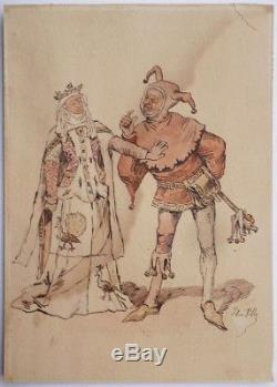 Original Drawing By Henri Pille (1844-1897) Illustration Fou Du Roi Reine