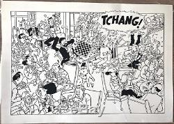Original Drawing Chinese Ink Rodier Tribute Hergé Tintin In Tibet D. 23 32 CM