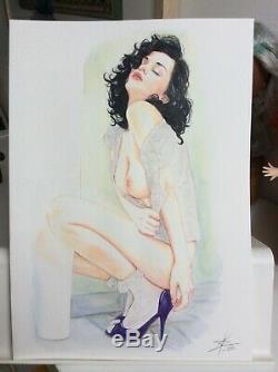 Original Drawing Female Dedicace Board Bd Akt Nudo Nude Female Nude Woman A 012